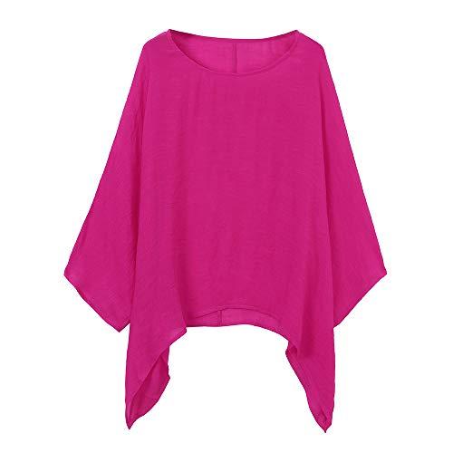 LOPILY Oversize Leinen Oberteile Damen Große Größen Asymmetrische Bluse Federmausärmel Tunika Urlaub Unregelmäßige Saum Shirts Langarmshirts Herbst Lose Lässige Bluse Gr.56 54 52 (Hot pink, 54)