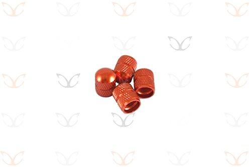 4Stück von exotischen eloxierte Legierung Schrader Ventilkappen in einer Auswahl von 10Farben Orange orange