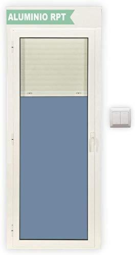 Ventanastock Balconera Aluminio RPT Practicable Oscilobatiente Izquierda con Persiana motorizada y con lamas de aluminio 800X2185 1hoja con cristal climalit (Guías y cajón persiana preparado en kit)
