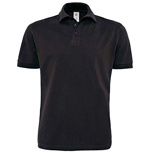 B&C Herren Polo Shirt Heavymill, Kurzarm (M) (Schwarz)