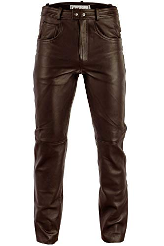 Radmasters Herren Lederhose lederjeans bikerjeans jeans hose aus echtleder Schwarz und Braun, 48/S, Dunkelbraun