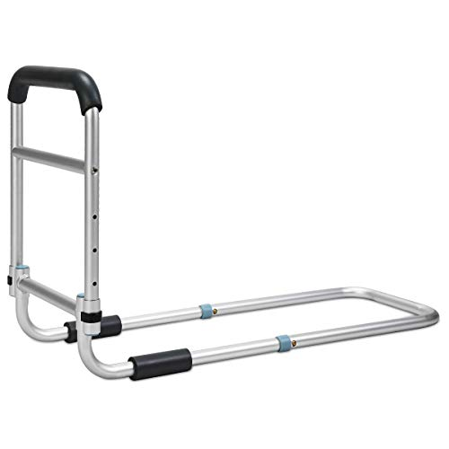 OasisSpace Bed Rail - Bedside Fall Prevention Grab Bar Mobility Aid for Elderly Seniors, Handicap - Adjustable Adult Bed Rail Cane fits King, Queen, Full, Twin - Stability Standing Bar Handle