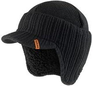 Unisexe Noir Tricoté Thinsulate Visière Bonnet Polaire Doublé Wooly Peak Cap