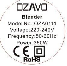 OZAVO Blender | Mini Blender Mixeur des Fruits | Mixer | 350W | Blender à Smoothie et à Milk-shake | Couteaux en métal 2 fois | 600ml | pour Sport et Voyage | Avec Bouteille et Couvercle Sans BPA