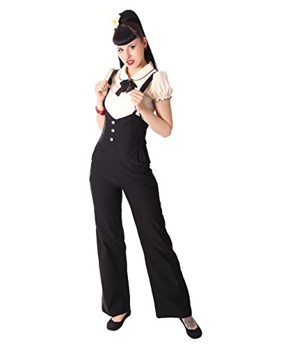 SugarShock Marlene Damen Hose Lorai Suspender, Größe:L, Farbe:Schwarz