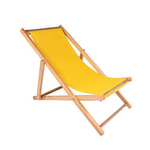 FVGBHN Solstol strandstol vikbar solstol massivt trä lounge stol kanvas stol lunchrast stol utomhus bärbar lat stol solsäng – gul