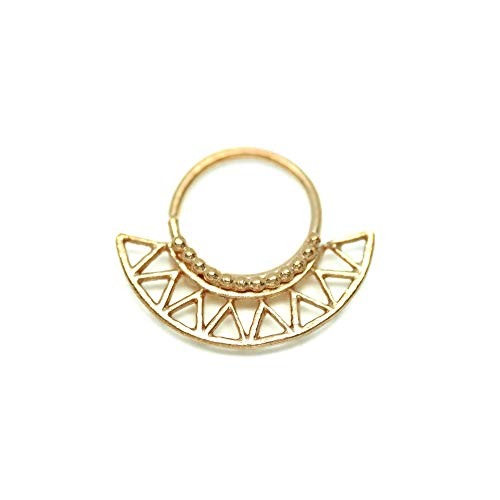 Unique Nose Ring, Tribal Indian Nose Hoop Piercing, Made of Gold Plated Brass, fits Septum, Cartilage, Helix Earring, 20g, Handmade Statement Piercing Jewelry