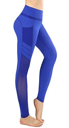 Flatik Damen Netzoberfläche Sport Gym Yoga Laufen Fitness Leggings Hose, Blau, L