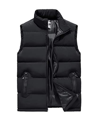AIEOE Herren Übergangsweste Leichte Steppweste Outdoor Weste Ärmellose Jacke - Schwarz Größe 4XL