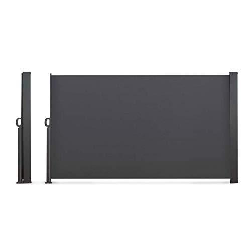 IDMarket - Paravent extérieur rétractable 400 x 180 cm Gris Anthracite Store latéral