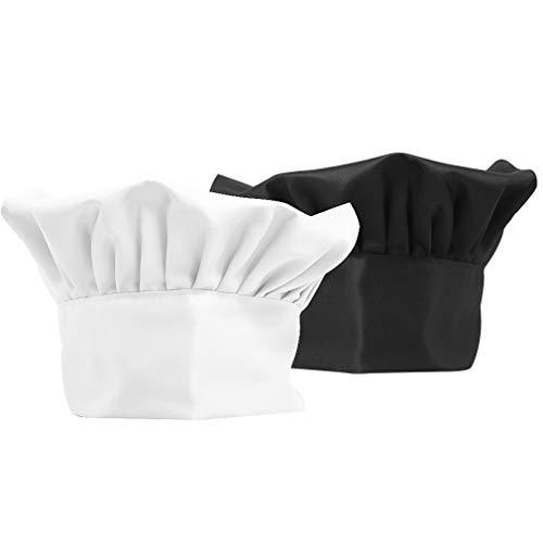 YLX Kochmütze, 2 Stück Kochmütze Unisex für Profis und Hobbyköche, Kochkurse, kulinarische Workshops (Schwarz + Weiß)