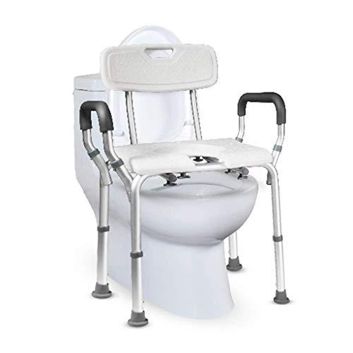 Asiento de inodoro bariátrico, inodoro de cabecera, taburete de baño y silla de ducha para embarazadas, para personas mayores, discapacitados, discapacitados con pasamanos, respaldo ajustable en a
