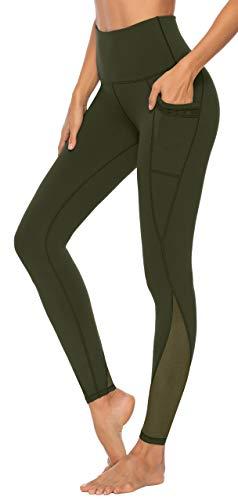AFITNE Yoga Pants for Women High Waisted Mesh Leggings Tummy Control Athletic Workout Leggings with Pockets Gym Running Leggings Green - M