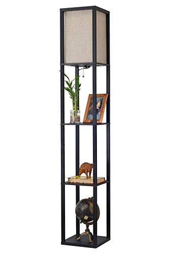 Revel Toro 62.5' Modern Wood Floor Lamp with Shelves & Off White Shade, 23W Energy Efficient CFL Bulb (100W Equivalent), Black Finish