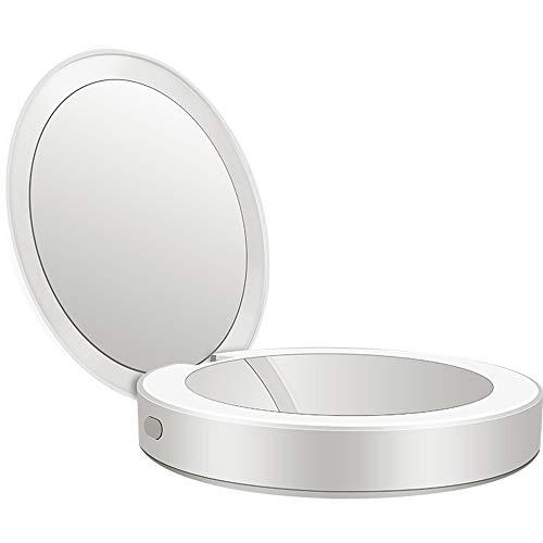 Hancoc Nuevo Multifunción Portátil Plegable Luz LED Maquillaje Espejo Relleno Luz Cargando Tesoro Espejo Material De Regalo Regalo Luz Cargando Lupa (Color : Silver)