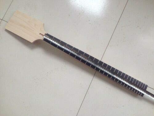 Yinfente Mástil de guitarra sin terminar 24 trastes de 27 pulgadas de longitud de escala en blanco palisandro diapasón estilo barítono
