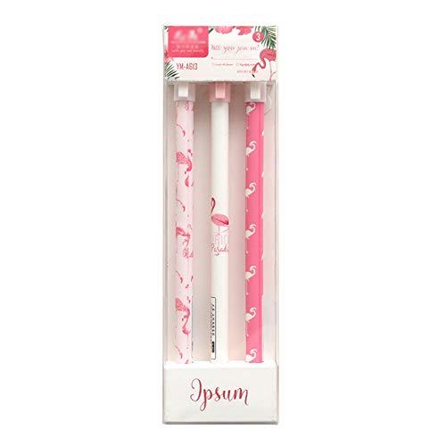 Gysad Gel-Stifte, schwarze Tinte, feine Spitze, Flamingo-Muster, Kugelschreiber für Frauen und Mädchen, glattes Schreibstift, 0,5 mm, 3 Stück Stil 1