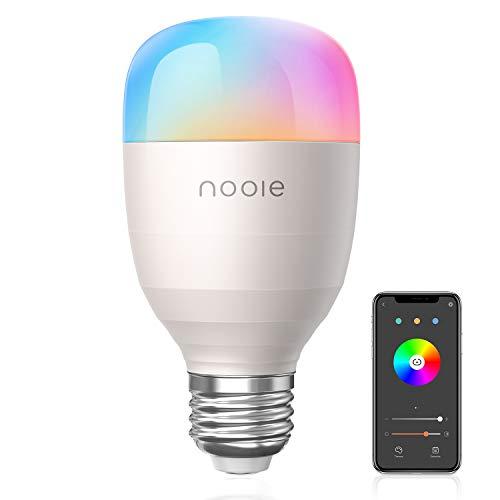 Nooie Smart Lampe WLAN Glühbirnen Wifi LED Weiches Weiß 2800K-6000K RGB Birne 10W 800LM E27 UL Listed Kompatibel mit Amazon Alexa, Kein Hub Erforderlich Dimmbares Mehreren Farben [Energieklasse A+]