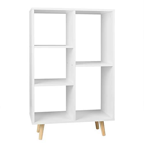 WOLTU SK011ws Bücherregal Bücherschrank Standregal Lageregal Aufbewahrungregal Büroregal aus MDF Holz mit 5 Fächern Weiß