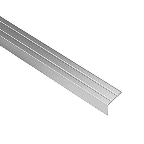 Gedotec Treppen-Kantenprofil selbstklebend Stufen-Kantenprofil Aluminium silber | 1000 mm | Bodenprofil ungelocht zum Kleben | Winkel-Schutzprofil 20 x 18 mm | 1 Stück - Alu Winkelprofil mit Rillen