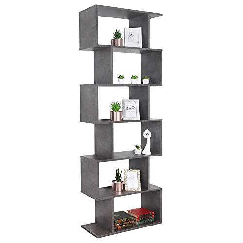 RICOO WM070-BG Scaffale 192x70x25cm Libreria alto Mensola legno Biblioteca moderna Mobile arredo casa Armadio portaoggetti Grigio