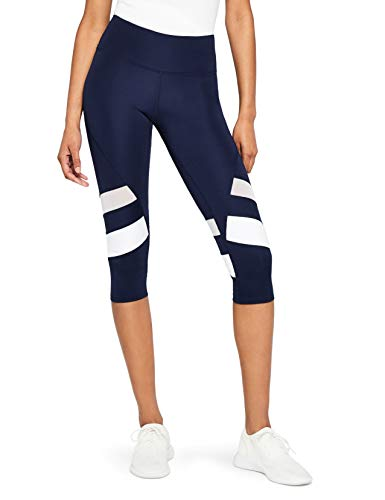AURIQUE Damen Sportleggings Blau (Navy/White Navy/White), 40(Herstellergröße: L)