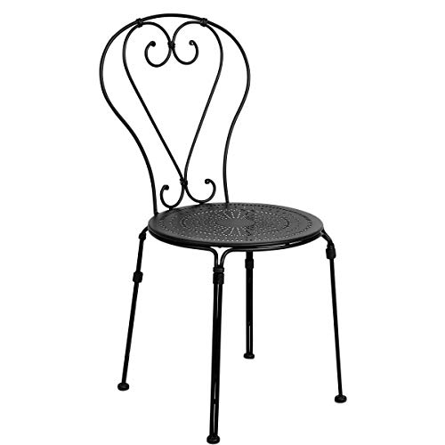 Butlers Palazzo Stuhl in Schwarz 43x50x88 cm - Gartenstuhl aus Eisen - Balkonstuhl, Designerstuhl mit Muster