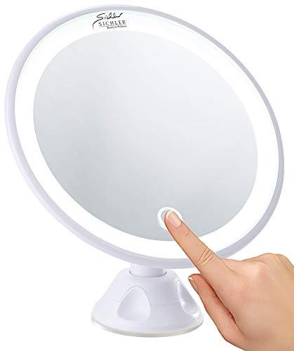 Sichler Beauty Schminkspiegel: Saugnapf-Kosmetikspiegel mit LED-Licht und Akku, 5-fache Vergrößerung (LED Schminkspiegel)