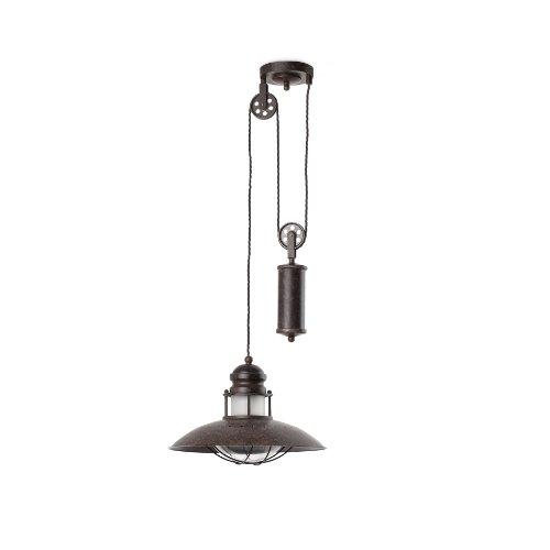 FARO BARCELONA 66205, Lampe à Suspension Winch avec Poids, Marron
