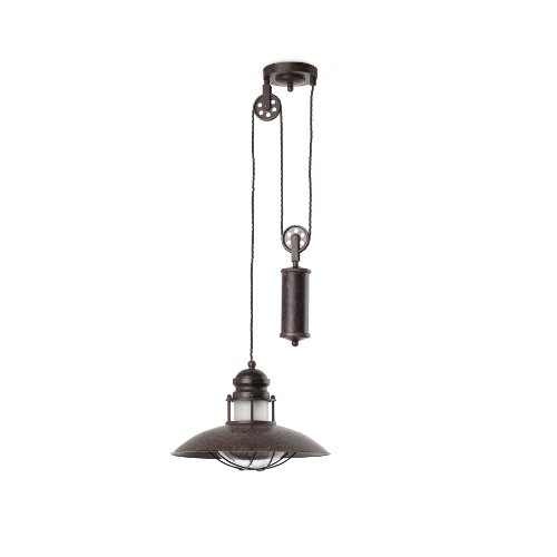 FARO BARCELONA 66205, Lampe à Suspension Winch avec Poids, Marron