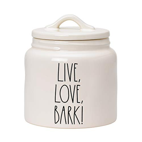 RAE DUNN Cookie Jar, Ceramic Live, Love, Bark Food Container for Cookies or Dog Biscuits, Kitchen Pottery Accents, Snack Canister with Sealed Lid (6' x 6' x 6.5')