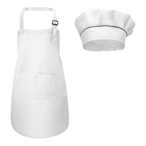 Fodlon Kinder Schürze und Kochmütze Set, Verstellbare Kinder Kochschürze Kinderschürze zum Bemalen Schürze Küchenschürze Bastelschürzen mit Taschen zum Kochen Backen Malen 4-12 Jahre alt ((Weiß,L))