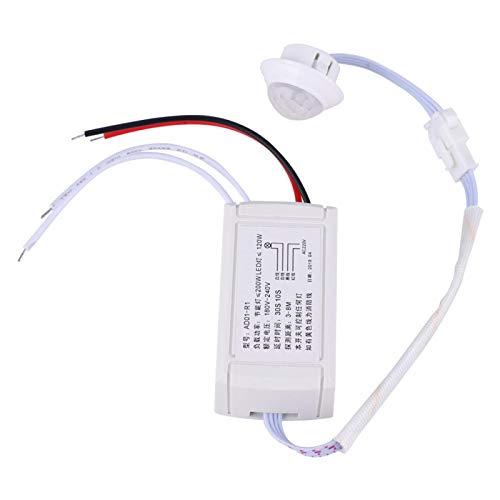 LANTRO JS - Interruptor de sensor AD01-R1, interruptor de detección de infrarrojos, interruptor de sensor de movimiento de control de luz de detección de 180 V-240 V para lámpara LED de bombilla