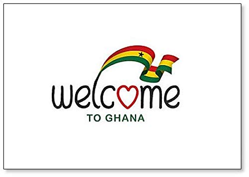 Kühlschrankmagnet, Motiv: Welcome to Ghana mit Flagge