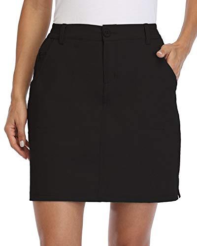 Willit Women's Outdoor Skort Golf Skort Casual Skort Skirt UPF 50+ Quick Dry Zip Pockets Active Hiking Black M