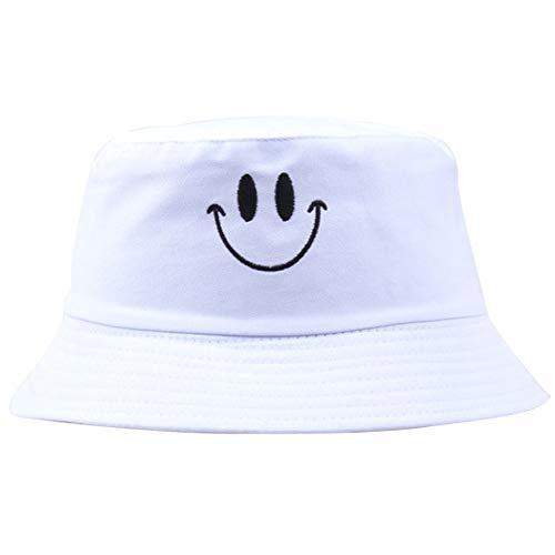 Unisex del Casquillo del Sombrero del Cubo del Bordado Pescador De Algodón Patrón De La Sonrisa del Casquillo De Sun Plegable Sombrero Al Aire Libre para Las Mujeres De Los Hombres
