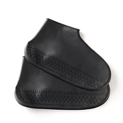 YiXing Cubiertas impermeables de goma antideslizantes para zapatos de lluvia con elasticidad para viajes, reutilizables, para hombres, mujeres, niños y niños (color: negro, tamaño: L)