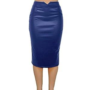 Romacci Pencil Skirts for Women PU Leather Midi Bodycon Skirt Below Knee Length Casual Slim Clubwear 7