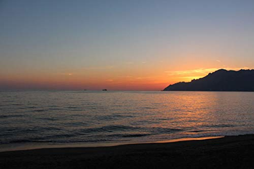 ING Wall Art Print on Canvas(32x21 inches)- Sunset Amalfi Coast Salerno Beach Sea Tyrrhenian