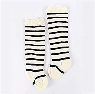 Lovely Socks Children Cotton Socks Kids Autumn and Winter Stripe Patterns Terry Mid Tube Socks(Purple) Newborn Sock (Color : Black and White, Size : S)