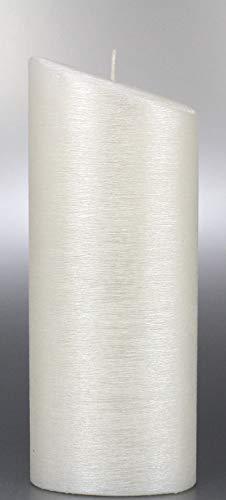 Kerze Oval mit Perlmuttstruktur, 23x9 cm - 8704 - Kerzenrohling Ellipse für Taufe, Hochzeit 230x90 mm. Perlmutt Kerzen zum Basteln und Verzieren, mit Karton zu Aufbewahrung. Brautkerze, Taufkerze