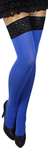 Unbekannt Plus Size warme dickere halterlose Strümpfe Farben blickdicht Spitze 60 (XL/2XL (5/6), königsblau)