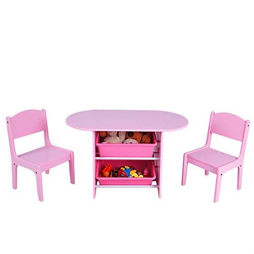 COSTWAY Kindersitzgruppe Kindertischgruppe, Kindertisch mit 2 Stühlen, Kindermöbel mit Stauraum, Holzsitzgruppe für Mädchen, Pink