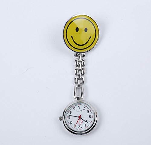B/H Cuarzo Reloj Enfermera Elegante,Smiley Nurse Pocket Watch, Reloj de Bolsillo portátil de Acero Inoxidable, Amarillo,Enfermera Prendedor Broche Reloj