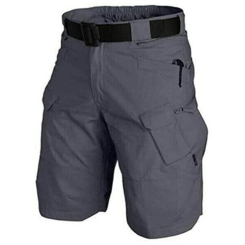 Pantalones cortos tácticos impermeables mejorados 2021, pantalones cortos tácticos de senderismo de ajuste relajado con múltiples bolsillos, peso ligero transpirable de secado rápido (3XL,Grey-blue)