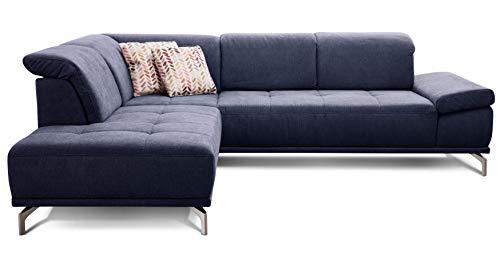 Cavadore Ecksofa Carly mit Federkern, Sitztiefe und Kopfstütze verstellbar im Design, 273 x 81 x 234, Webstoff blau