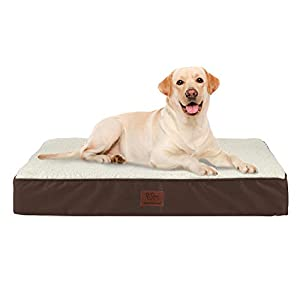 SunStyle Home Orthopedic Foam Dog Bed for Large & X-Large Dogs Up to 100lbs with Waterproof Removable Cover, Mattress Pet Mat Bed for Dogs & Cats – Orthopedic Egg Crate Foam Platform, Espresso