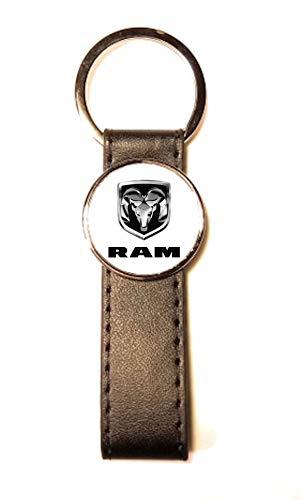 Sleutelhanger staal/kunstleer Classic Circle Dodge RAM wit