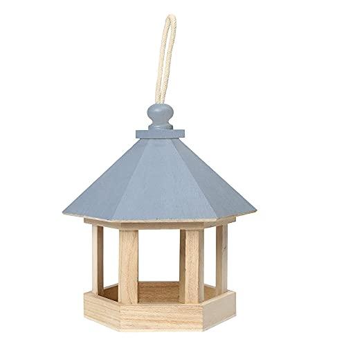 Comederos De Pájaros para El Jardín, Comedero De Pájaros para Mascotas En Forma De Casa Hexagonal Decoración De Jardín De Madera Bandeja De Semillas para Baño De Agua Colgando,Azul