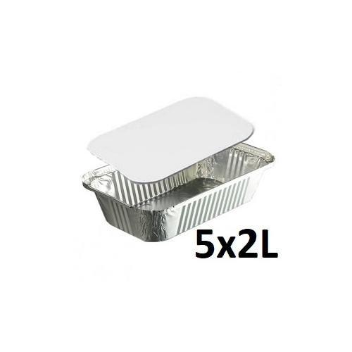 Générique - Set DE 5 Barquette en Aluminium 2L avec Couvercle - Cuisine Cuisson Conservation - 885